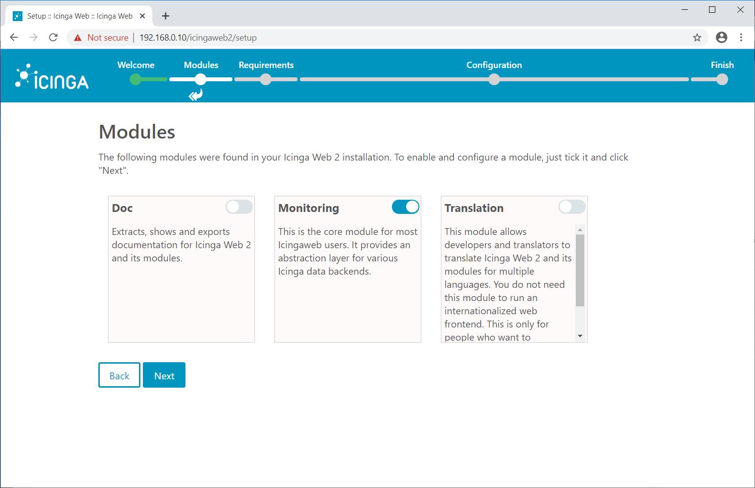 Enter Security TokenEnable Icinga 2 Modules