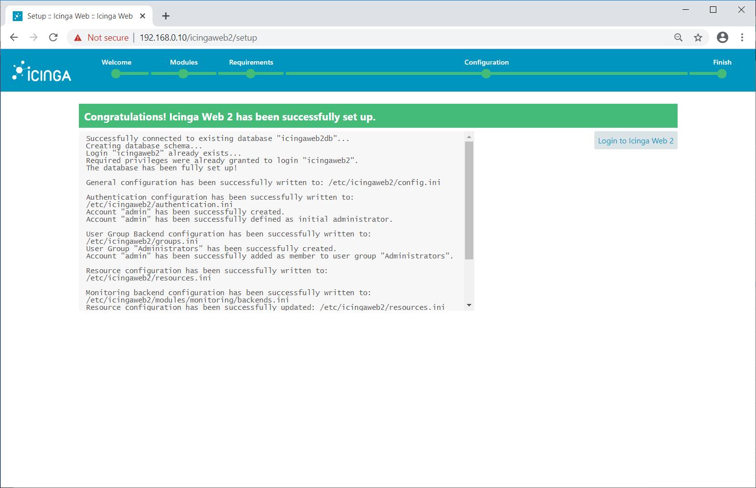 Icinga Web 2 Installation Complete