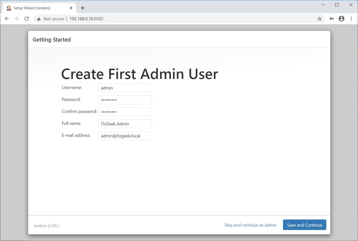 Create Admin User