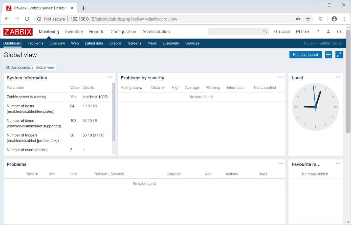 Zabbix 4.0 Dashboard