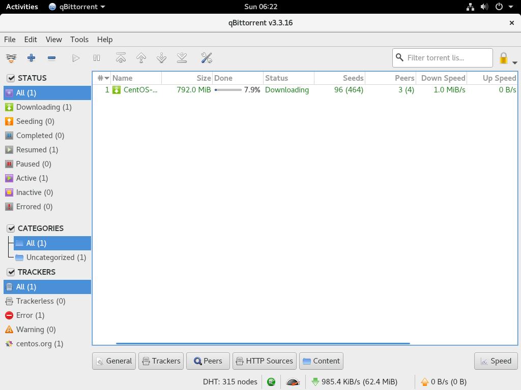 Install qBittorrent on Fedora 27 - qBittorrent running on Fedora 27