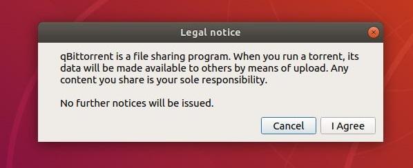 Install qBittorrent on Ubuntu 18.04 - Accept qBittorrent's Legal Notice on Ubuntu 18.04