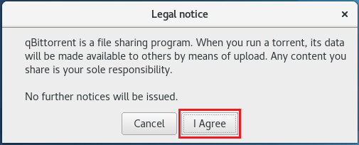 Install qBittorrent on Fedora 27 - Accept Legal Notice on Fedora