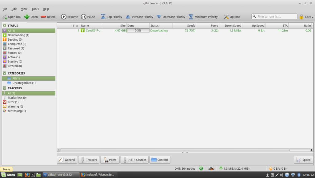 Install qBittorrent on Linux Mint 18 - qBittorrent running on LinuxMint 18