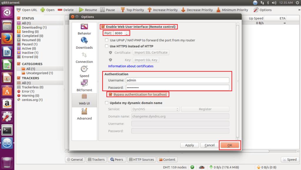 Install qBittorrent on Ubuntu 16.04 - Enable qBittorrent Web User Interface