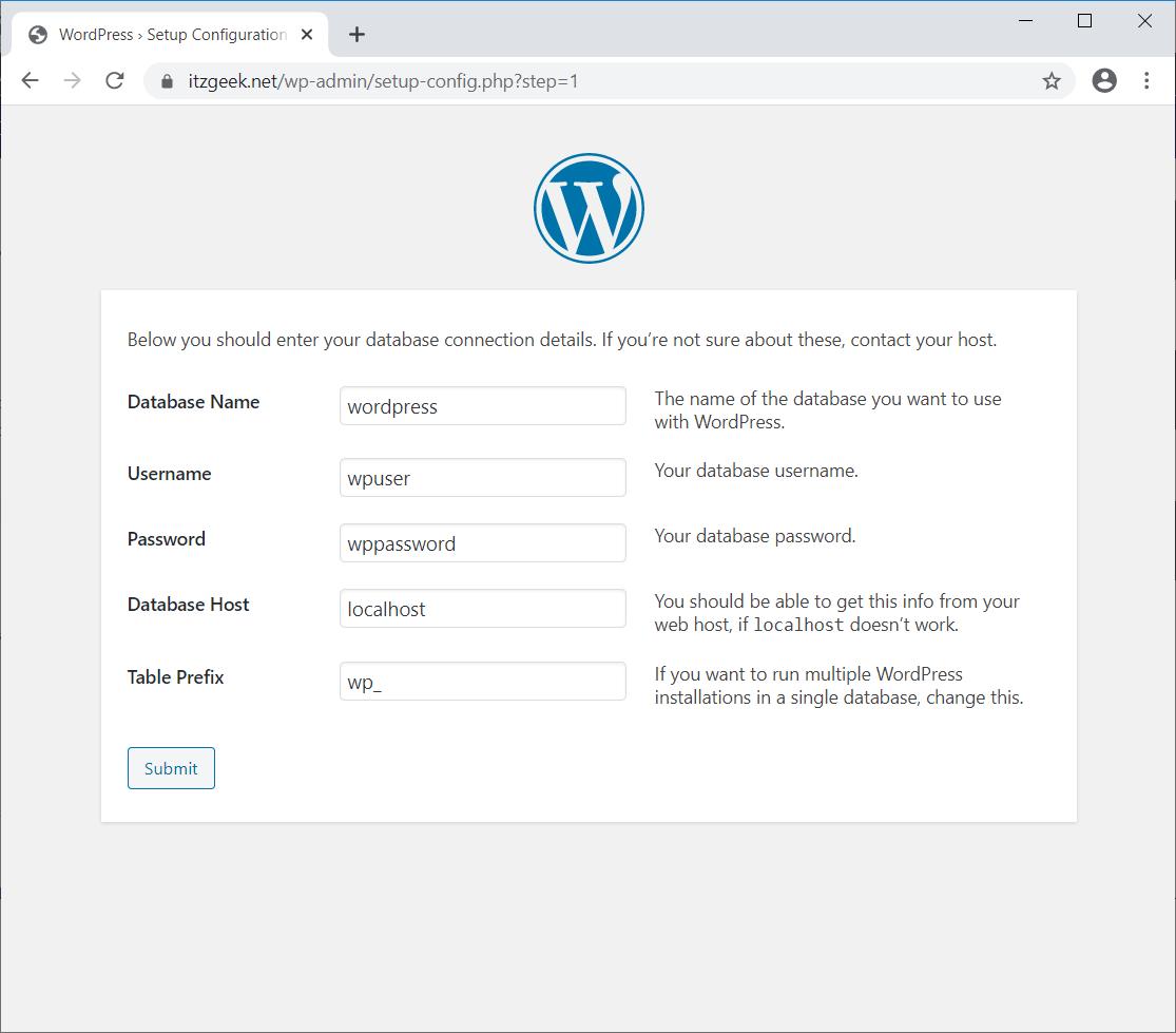 Enter WordPress Database Details