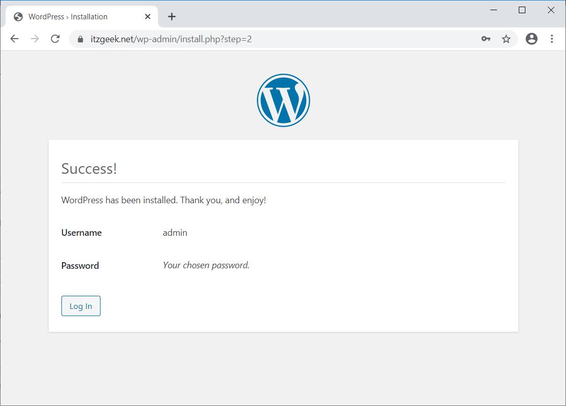 WordPress Installation Completed