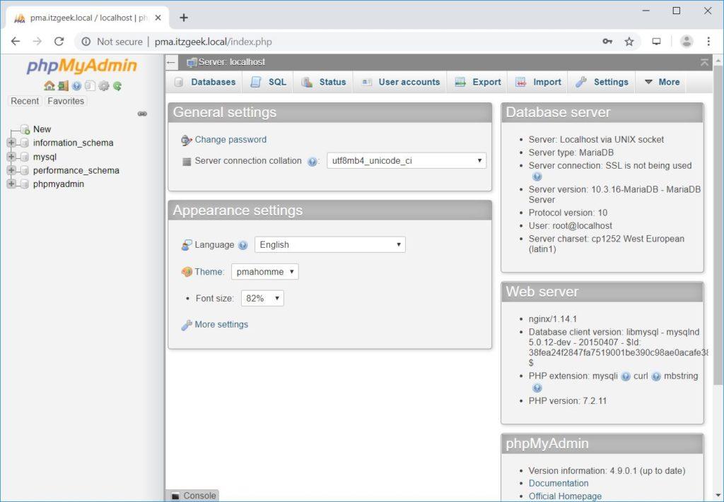 Install phpMyAdmin with Nginx on RHEL 8 - phpMyAdmin Main Page