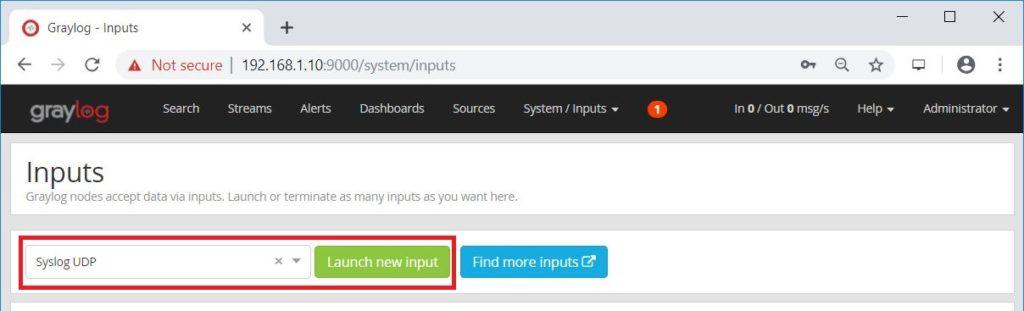Install Graylog 3.0 on Ubuntu 18.04 - Inputs