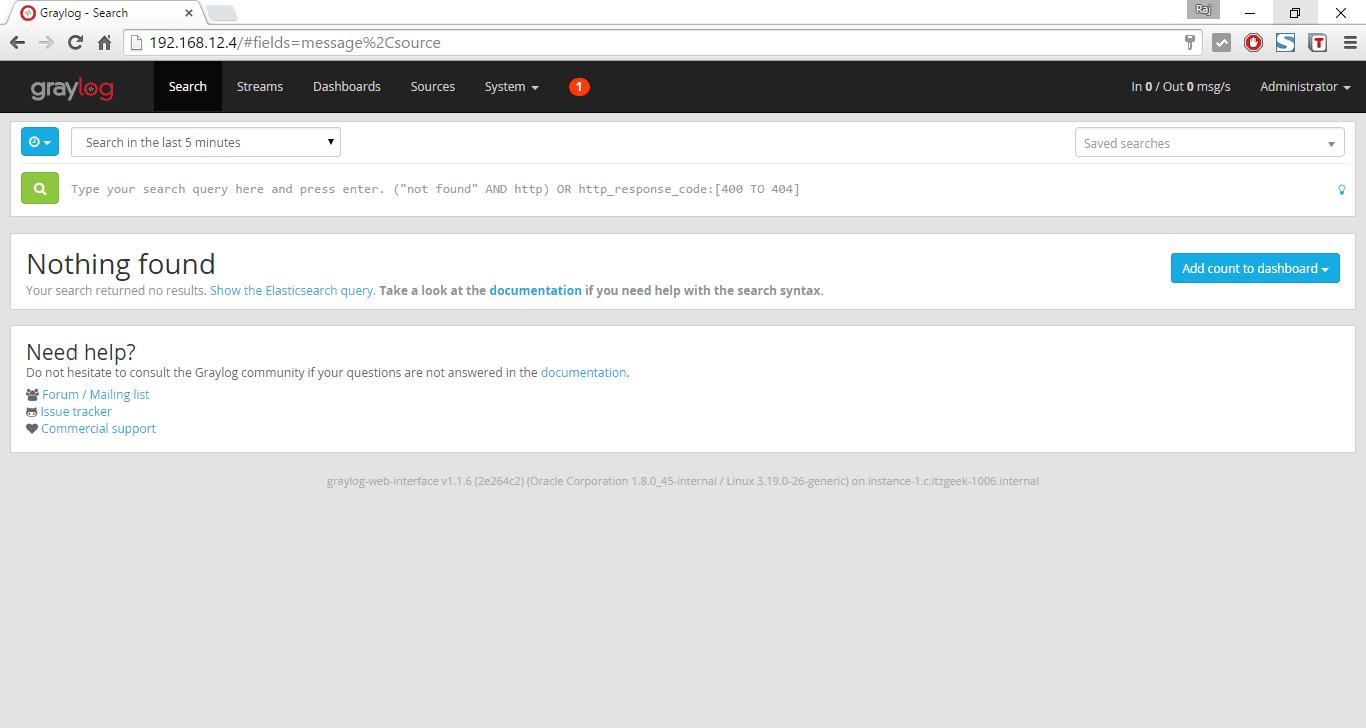 Install Graylog2 on Ubuntu 14.04 - Search Page