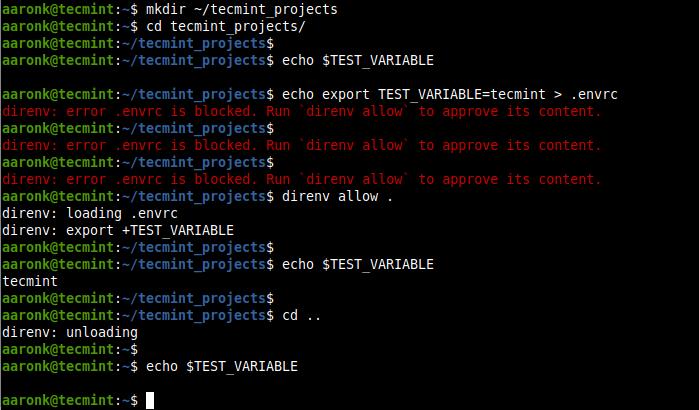 Demonstration of How direnv Works in Linux