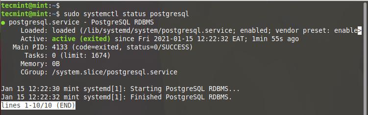 Check PostgreSQL Status