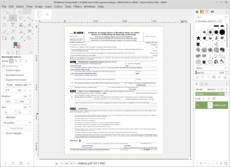 PDF View in GIMP