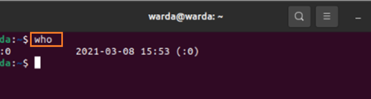Linux who, w and whoami Command