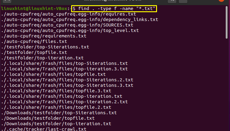 Find All Files with Extension in Linux