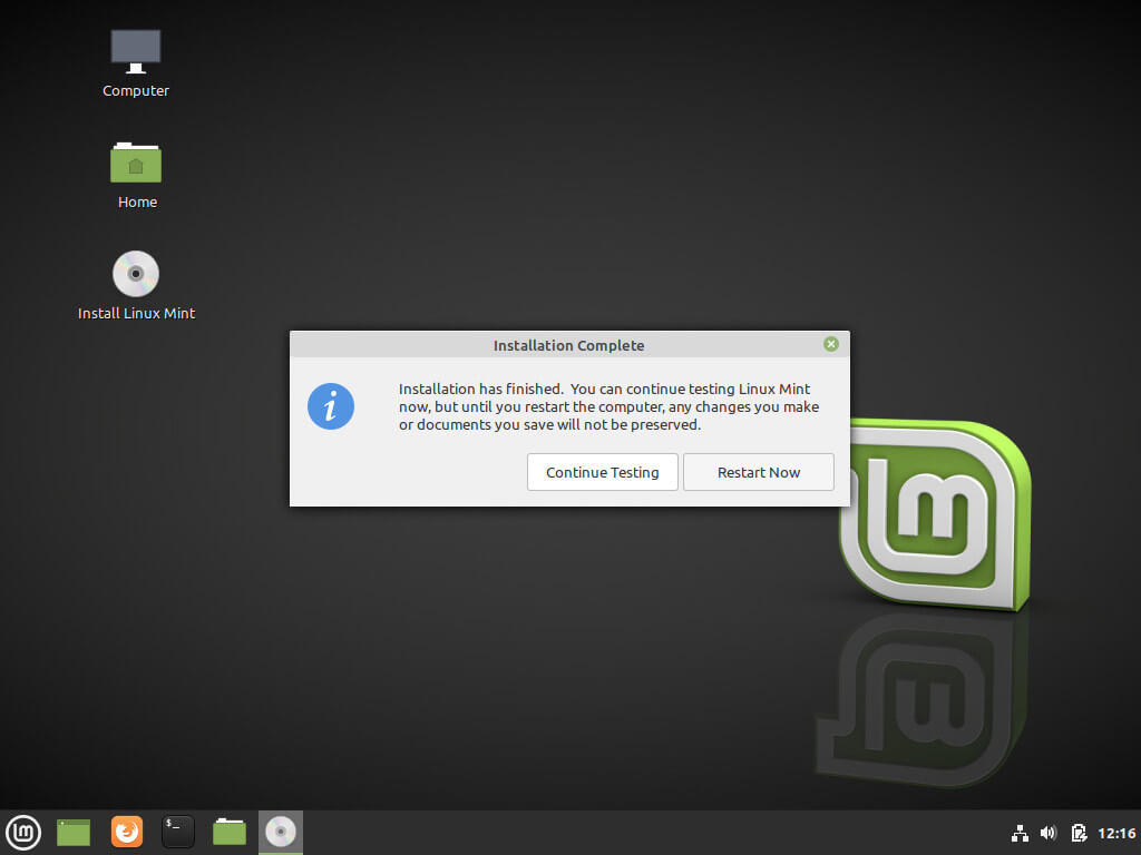 Linux Mint Installation Completes