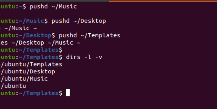 Linux pushd and popd command examples