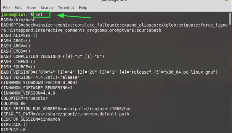 The Linux Set Command
