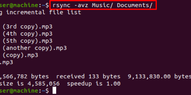 What is the rsync avz command? What does it do?