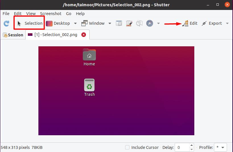 Capture selected area with shutter in Ubuntu