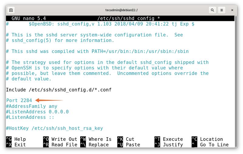 Change SSH Port in Debian 11