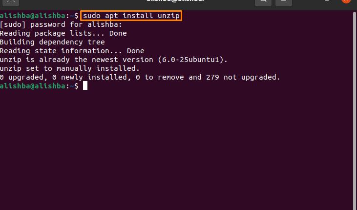 How to unzip a zip file in Ubuntu